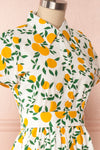 Achillea White Lemon Print Shirt Dress | Boutique 1861 side close up