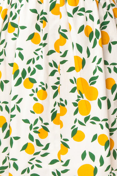 Achillea White Lemon Print Shirt Dress | Boutique 1861 fabric