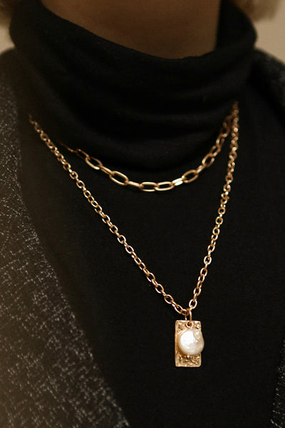 Acrius Gold Layered Chain Necklace w Pendants | La Petite Garçonne on model