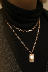 Acrius Gold Layered Chain Necklace w Pendants | La Petite Garçonne