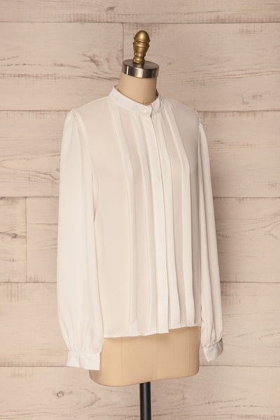 Acton Day White Pleated Button Down Shirt | La Petite Garçonne 3