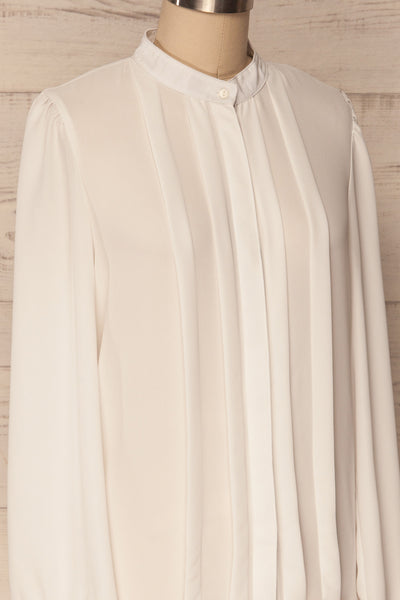 Acton Day White Pleated Button Down Shirt | La Petite Garçonne 4