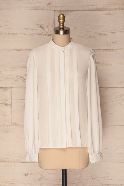 Acton Day White Pleated Button Down Shirt | La Petite Garçonne 1