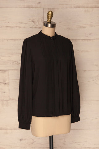 Acton Night Black Pleated Button Down Shirt | La Petite Garçonne 3