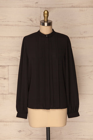 Acton Night Black Pleated Button Down Shirt | La Petite Garçonne 1