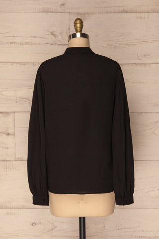 Acton Night Black Pleated Button Down Shirt | La Petite Garçonne 5
