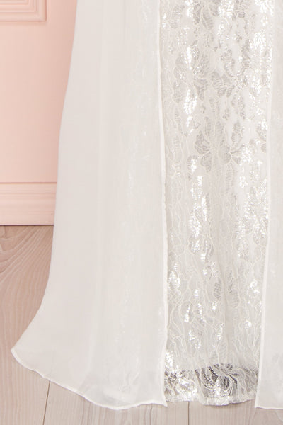 Adalgisa White & Silvery Lace Mermaid Bridal Dress | Boudoir 1861 10