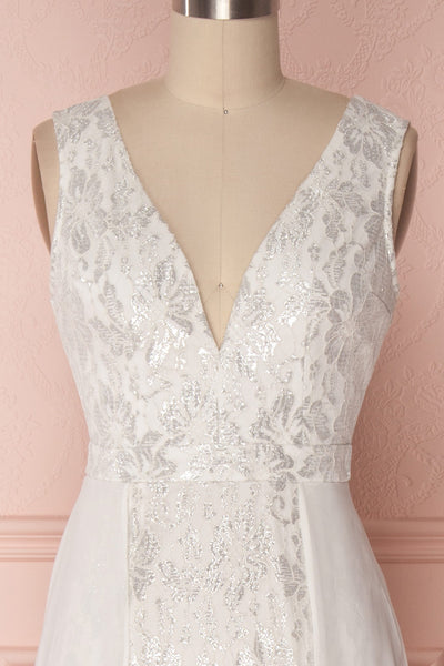 Adalgisa White & Silvery Lace Mermaid Bridal Dress | Boudoir 1861 3