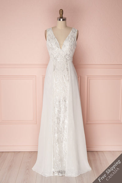 Adalgisa White & Silvery Lace Mermaid Bridal Dress | Boudoir 1861 1