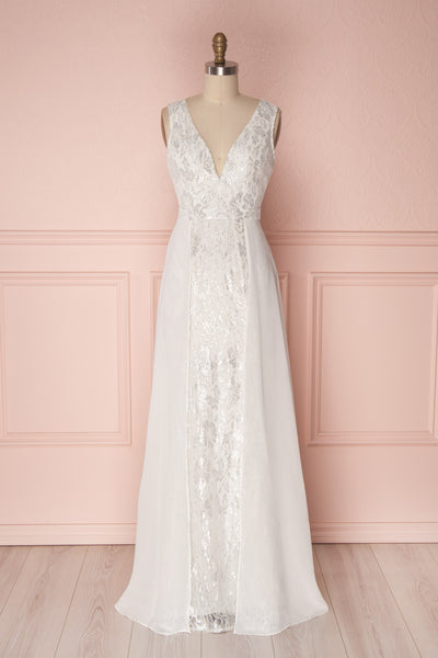 Adalgisa White & Silvery Lace Mermaid Bridal Dress | Boudoir 1861 4