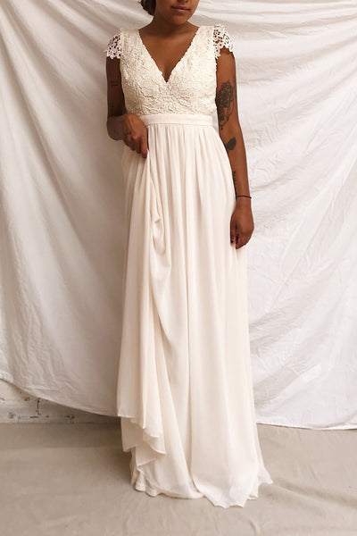 Adalia Cream Lace Bodice Maxi Bridal Gown | Boutique 1861 model look