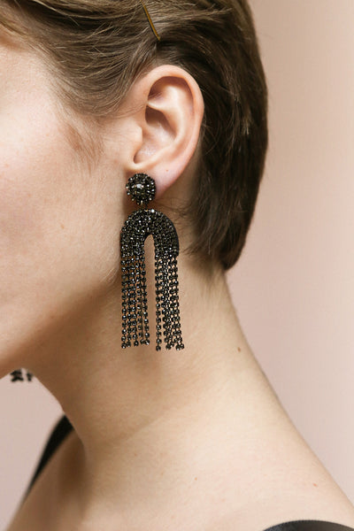 Adeas Black Statement Crystal Pendant Earrings | Boutique 1861 on model