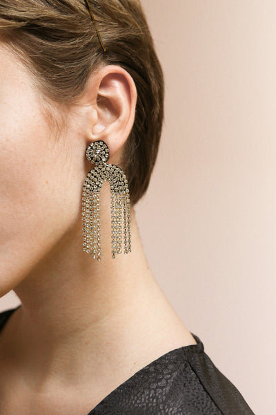 Adeas Silver Statement Crystal Pendant Earrings | Boutique 1861 on model