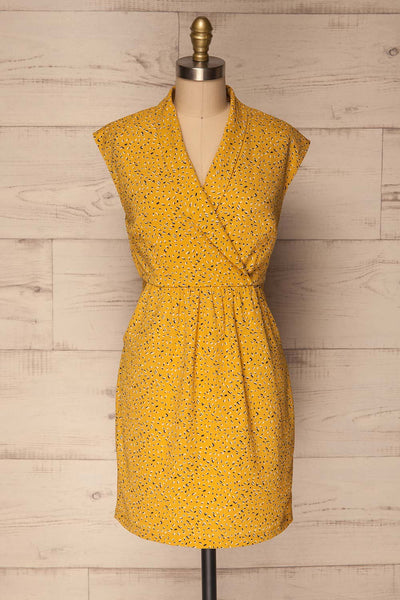 Adegem Yellow Patterned A-Line Summer Dress | La Petite Garçonne 1