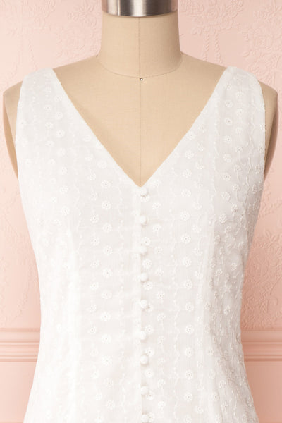 Adelaide White Short Summer Dress w/ Frills front close up | Boutique 1861