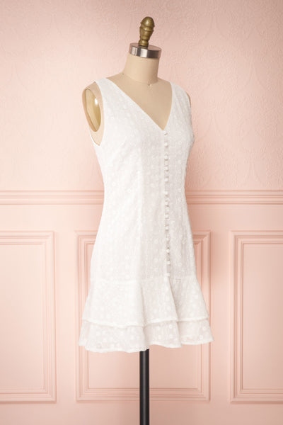 Adelaide White Short Summer Dress w/ Frills side view | Boutique 1861