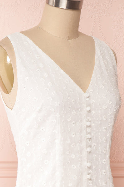 Adelaide White Short Summer Dress w/ Frill   side close up| Boutique 1861