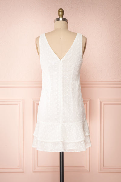 Adelaide White Short Summer Dress w/ Frills back view | Boutique 1861