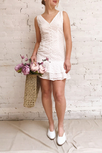 Adelaide White Short Summer Dress w/ Frills | Boutique 1861 model look