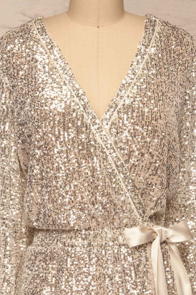 Adelfia Silver Sequin Dress | Robe | La Petite Garçonne front close-up