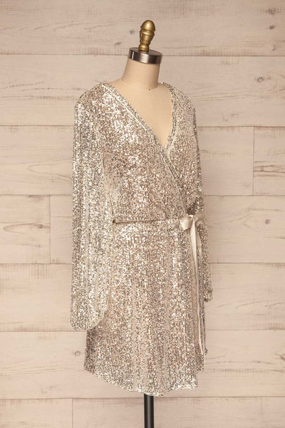 Adelfia Silver Sequin Dress | Robe | La Petite Garçonne side view