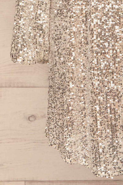 Adelfia Silver Sequin Dress | Robe | La Petite Garçonne bottom close-up