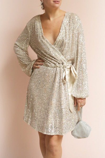 Adelfia Silver Sequin Dress | Robe | La Petite Garçonne on model
