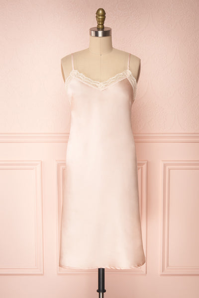 Adella Blush Pink Short Satin Dress w/ Lace front view | Boutique 1861