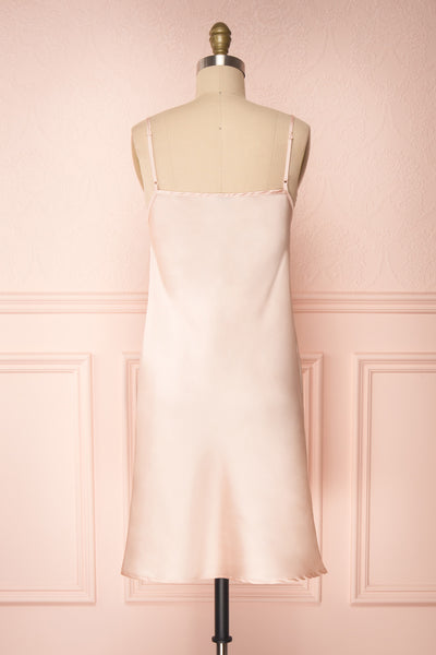 Adella Blush Pink Short Satin Dress w/ Lace back view | Boutique 1861