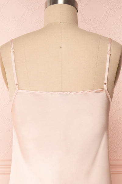 Adella Blush Pink Short Satin Dress w/ Lace back close up | Boutique 1861