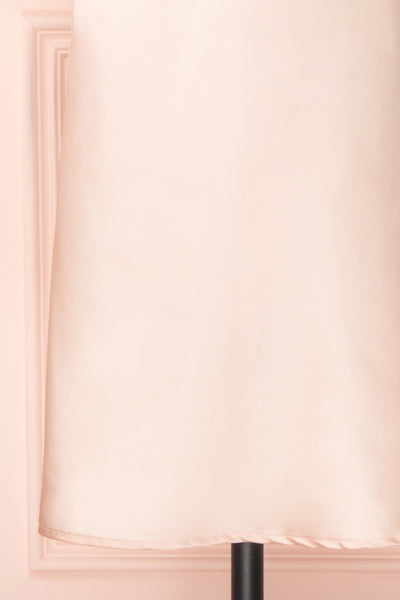 Adella Blush Pink Short Satin Dress w/ Lace bottom | Boutique 1861