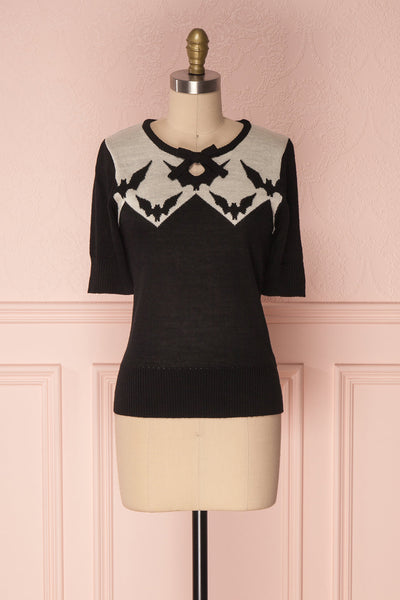 Adelphe Black & White Halloween Short Sleeved Knit Top | Boutique 1861