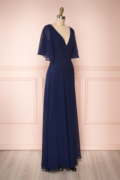Adelphia Navy Blue Chiffon Maxi Prom Dress | SIDE VIEW | Boutique 1861