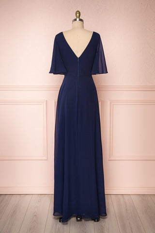 Adelphia Navy Blue Chiffon Maxi Prom Dress  | BACK VIEW | Boutique 1861