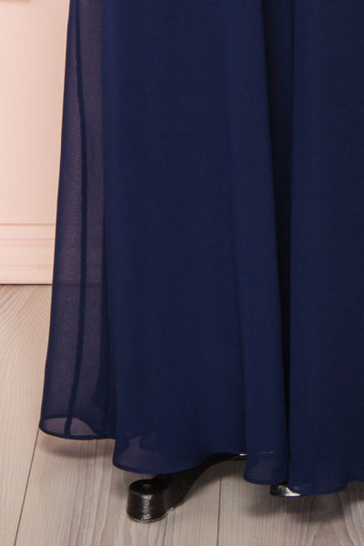 Adelphia Navy Blue Chiffon Maxi Prom Dress  | BOTTOM CLOSE UP | Boutique 1861