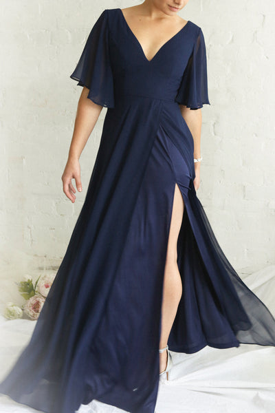 Adelphia Navy Blue Chiffon Maxi Prom Dress | Boutique 1861 on model