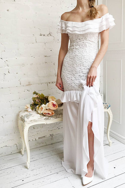 Adeltrude White Ruffled Off-Shoulder Maxi Dress | Boudoir 1861 2