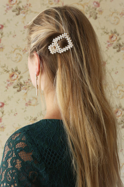 Adequito Golden Pearl Studded Hair Clip | La Petite Garçonne on model