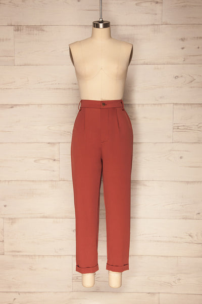 Adhami Brick Red Straight Leg Dress Pants | La Petite Garçonne 1