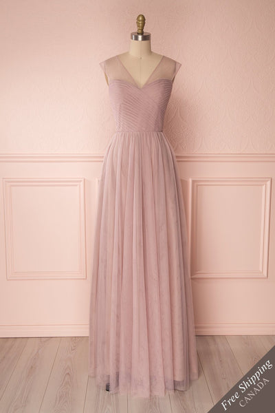Adifa Dusty Rose Net Tulle Sleeveless A-Line Gown | Boudoir 1861 1