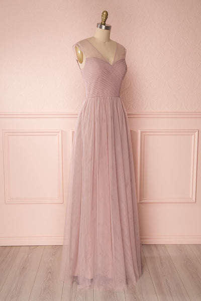 Adifa Dusty Rose Net Tulle Sleeveless A-Line Gown | Boudoir 1861 4