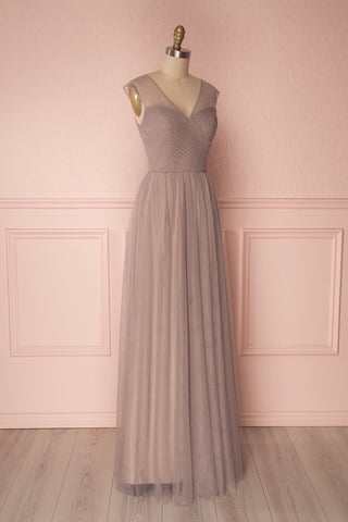 Adifa Sand Taupe Net Tulle Sleeveless A-Line Gown | Boudoir 1861 4