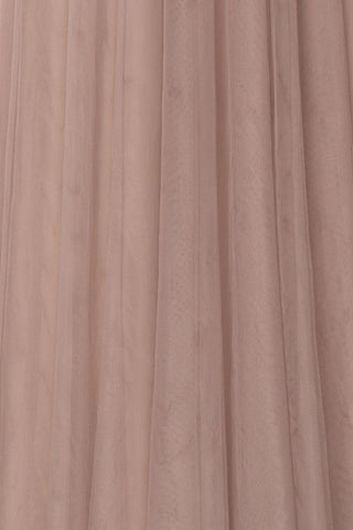 Adifa Sand Taupe Net Tulle Sleeveless A-Line Gown | Boudoir 1861 9