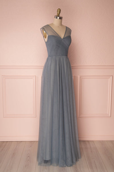 Adifa Sea Blue-Grey Net Tulle Sleeveless A-Line Gown | Boudoir 1861 4