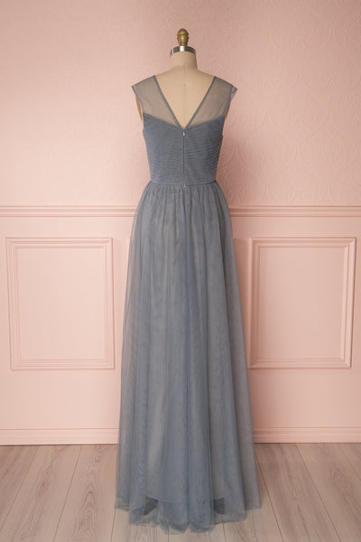 Adifa Sea Blue-Grey Net Tulle Sleeveless A-Line Gown | Boudoir 1861 6