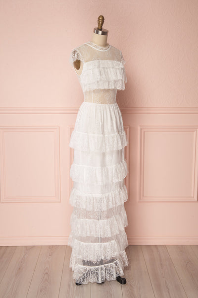 Adlin White Layered Ruffles Lace Maxi Dress | Boutique 1861 4