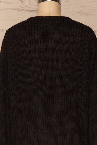 Adrano Poivre Black V-Neck Knit Sweater  | BACK CLOSE UP  | La Petite Garçonne
