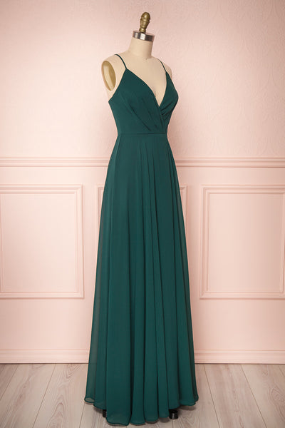 Aelis Green Chiffon Pleated Plunging V-Neckline Gown | Boudoir 1861 4