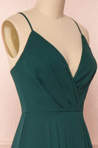 Aelis Green Chiffon Pleated Plunging V-Neckline Gown | Boudoir 1861 5