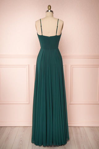 Aelis Green Chiffon Pleated Plunging V-Neckline Gown | Boudoir 1861 6